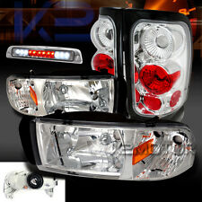 94-01 Dodge Ram 1500/2500 Chrome Headlights+Clear Tail Lamps+LED 3rd Brake Light