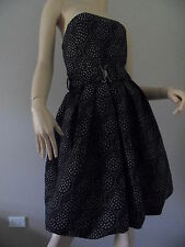 ZARA BASIC black strapless geometric print formal dress size M BNWT