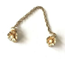 """Vintage Sweater Guard Simulated Pearl Flower Clips Gold Tone Chain 6.5"""""""