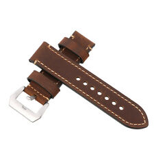 24mm Brown Vintage Genuine Leather Military Watches Strap Band Polished Buckle