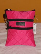 Across Body Neck Bag/Purse Quilted With 4 Zip Sections.