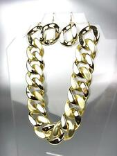 Stylish CHUNKY Gold Metallic Frosted Acrylic Chain Chains Necklace Earrings Set