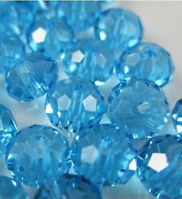 NEW Jewelry Faceted 30pcs Rondelle glass crystal #5040 6x8mm Bead sky blue F8W20