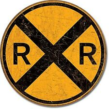 Rail Road Crossing round metal sign   (de)