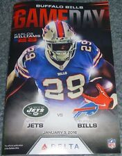 BUFFALO BILLS Gameday Program KARLOS WILLIAMS 1/3/16 NY Jets jersey 2016 ROOKIE