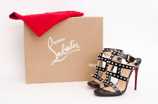 CHRISTIAN LOUBOUTIN Sexystrapi 120mm Jazz Calf Black Stud Spike Strap Heel 5/35