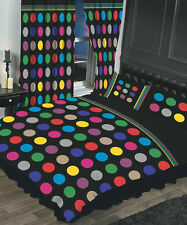 BE BOP BLACK & MULTI-COLOURED SPOTS MODERN SINGLE BED DUVET COVER SET