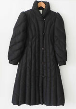 Vtg Saks Fifth Avenue Down Coat A-Line Black Mid-Calf Full Zip Size M