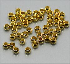 100x Quetschperlen Crimps 2mm gold sz199g