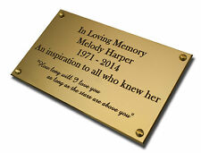 "4"" x 2"" Bench Plaque/Plate. Deep Engraving in Solid Brass. Free Delivery"