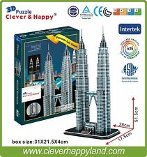 Clever&Happy 3D Puzzle Model Petronas Twin Towers Educational Toys Paper Diy