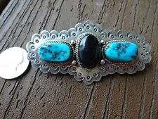 Navajo Large Sterling Silver Turquoise & Black Onyx  Hair Barrette