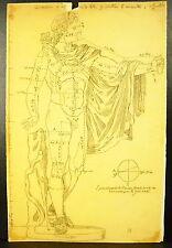 Dessin au crayon étude de l'Apollon du Belvédère Vatican study in pencil c 1930
