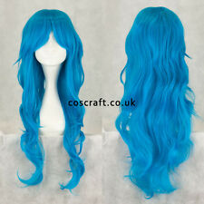 Long wavy curly cosplay wig with fringe peacock blue, UK SELLER Charlie style