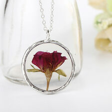 Beauty And The Beast Real Dried Rose Handmade Valentine Belle Necklace Pendant