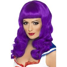 Womens Long Purple Katy Perry Wig California Girl Fringe Glamour Pop Fancy Dress