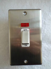 TD LINE ROUND ANGLE 45AMP 1 GANG DP SWITCH + NEON BRUSHED CHROME WHITE INSERTS