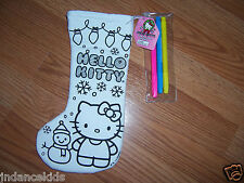 """HELLO KITTY Color Your Own 11"""" Stocking With Markers Christmas Holiday Snowman"""