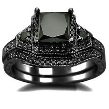 2.05ct Black Princess Cut Diamond Engagement Ring Bridal Set 14k Black Gold