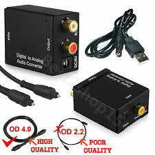 Digital Optical Toslink Coax to Analog L/R RCA Audio Converter Adapter+Cable VM!