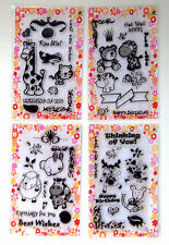 Lot of 4 sets FLONZ clear stamps unmounted UM acrylic 32 // Cute Animals