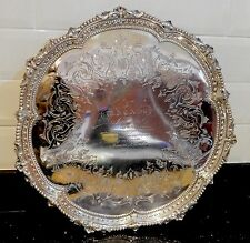 Antique Victorian Birmingham 1886 Solid Silver MARTIN HALL & CO LTD SALVER TRAY