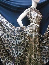 by 0.5Yard 100% Pure Silk Chiffon Fabric Dull Brown Leopard Print npc 34603
