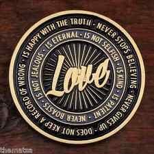 """WHAT IS LOVE NOT SELFISH NEVER BOASTS NOT KEEP RECORD 1.75 """" CHALLENGE COIN"""