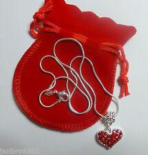 Rot Strass Herz Halskette in Beutel Weihnachtsgeschenk Jahrestag Valentinstag