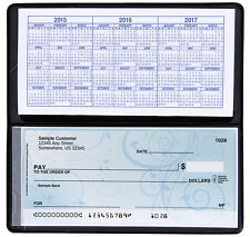 CHECKBOOK COVER VINYL BLACK WITH DUPLICATE FLAP SIDE TEAR