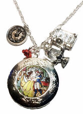 Disney's Beauty And The Beast Logo Glass Dome Multi Charm Locket PENDANT on 21""