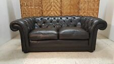 CHARACTERFUL BLACK LEATHER CHESTERFIELD SOFA *COURIER AVAILABLE*