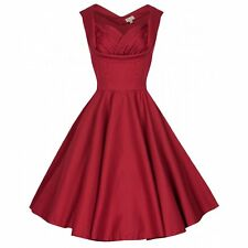NEW VINTAGE 50'S STYLE DARK RED OPHELIA ROCKABILLY SWING JIVE DRESS SIZE 12