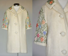 Vintage VTG 60s 1960s Cream Ivory Mohair Coat w/ Floral Embroidery Pockets