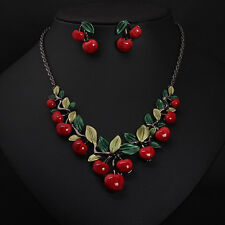 1Set Women Cherry Necklace Earrings Vintage Bridal Resin Charm Jewelry Sets