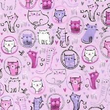 Fat Quarter Whiskers And Tails Cats Kittens On Lilac 100% Cotton Quilting Fabric