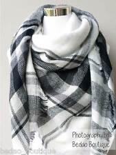 Blanket scarf, Oversized Scarf, Zara, Tartan Scarf by Bedao (Black, White)