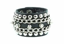 Stud Spike Chain Rivet Genuine Leather Punk Gothic Thrash Metal Bracelet