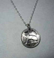 Coin Jewelry~Irish Blue Hare necklace-nicely domed!