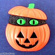 Buy3/Get1FREE~AVON Pin HALLOWEEN Pumpkin BROOCH w Black GHOST Peek A Boo Vtg