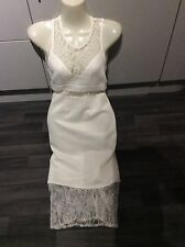 Misguided white evening bodycon dress size 8 lace see through waist & end