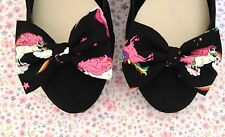 PAIR BLACK UNICORN RAINBOW PRINT NOVELTY COTTON FABRIC BOW SHOE CLIPS FAIRYTAIL
