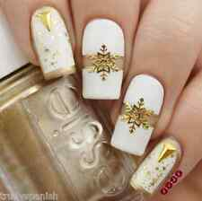 Christmas Nail Art Stickers Decals Gold Snowflakes Stars Gel Polish (040G)