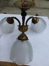 Antique Vintage 3 light brass chandelier fixture pendant hanging light lamp