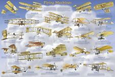 FLYING MACHINES POSTER Pilot Flight History Educational Chart NEW Licensed