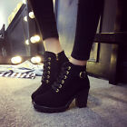 Womens Fashion High Heel Lace Up Ankle Boots Ladies Zipper Buckle Platform Shoes