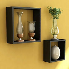 Onlineshoppee Home Decor Premium Solid Wood Black Cube Wall Shelves Set of 2