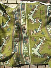 TIKI Mid-Century linen fabric olive greens browns Ethnic design upholstry RARE