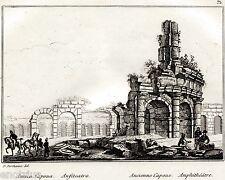 Santa Maria Capua Vetere: Anfiteatro Campano. Audot. Acciaio. Stampa Antica.1835