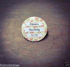 Hen Party  Birthday Badge Vintage Inspired Roses Floral & White Personalised